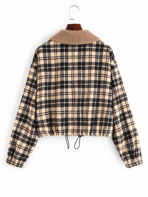 fancy ZAFUL Plaid Pocket Teddy Collar Jacket - MULTI-A M Mobile