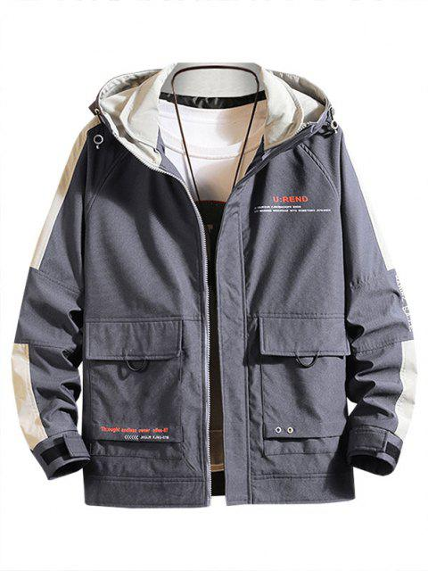 women Letter Print Contrast Patch Raglan Sleeve Hooded Jacket - DARK GRAY M Mobile