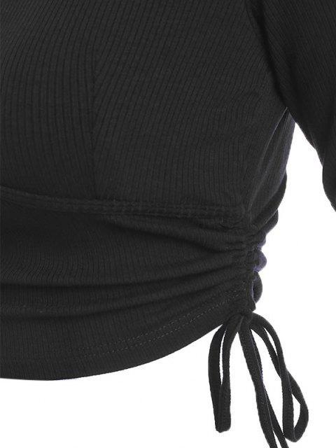 Top Corto Acanalado con Cuello en V - Negro S Mobile