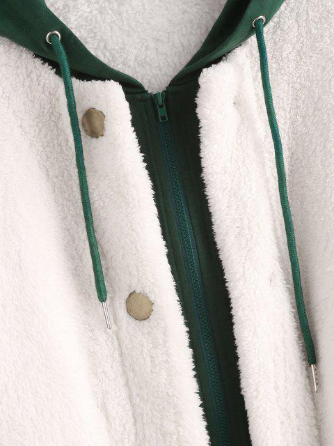 online ZAFUL Hooded Bicolor Drop Shoulder Faux Fur Coat - WHITE L Mobile