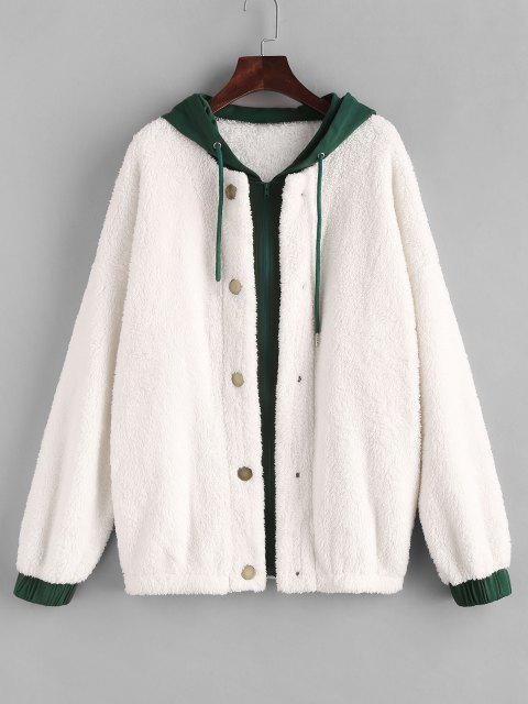 ZAFUL Manteau à Capuche Bicolore à Goutte Epaule en Fausse Fourrure - Blanc M Mobile