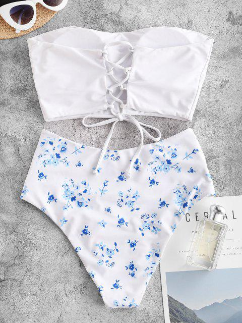 online ZAFUL Lace Up Floral Bandeau High Waisted Tankini Swimwear - WHITE S Mobile