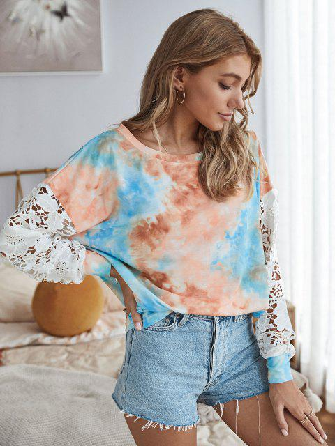 fancy Tie Dye Crochet Lace Sleeve Sweatshirt - MULTI M Mobile