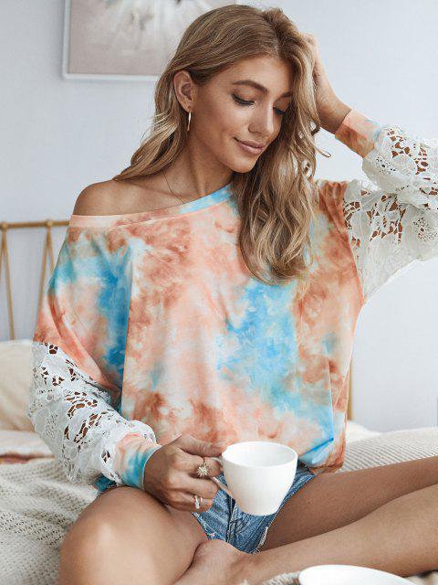 lady Tie Dye Crochet Lace Sleeve Sweatshirt - MULTI L Mobile