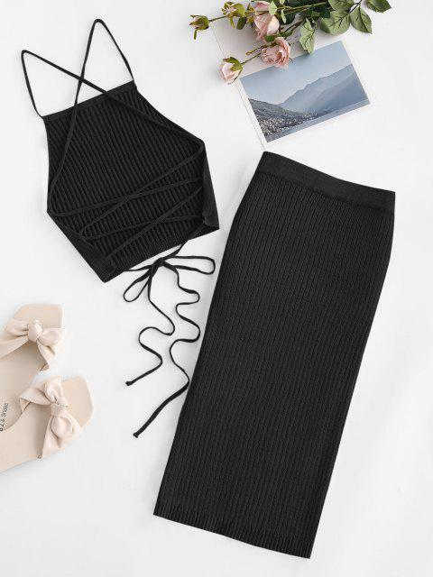 outfit Open Back Crisscross Knitted Two Piece Dress - BLACK S Mobile