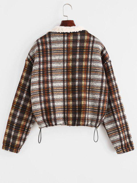 womens ZAFUL Plaid Teddy Lined Drop Shoulder Jacket - COFFEE M Mobile