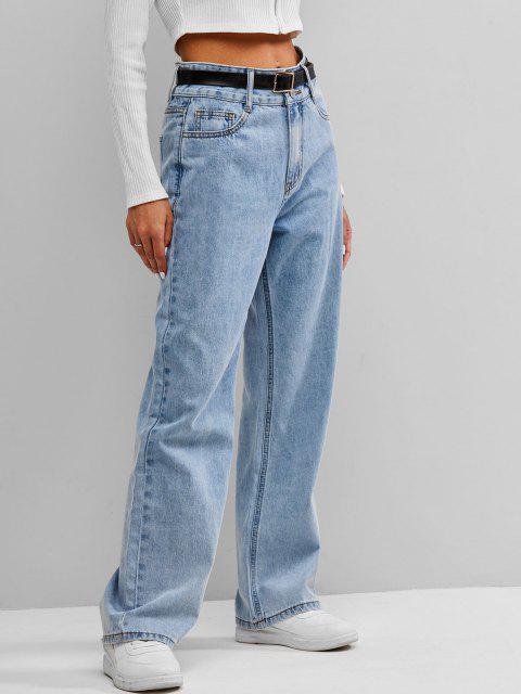 ladies ZAFUL High Waist Wide Leg Jeans - LIGHT BLUE M Mobile