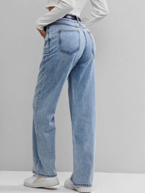 hot ZAFUL High Waist Wide Leg Jeans - LIGHT BLUE L Mobile
