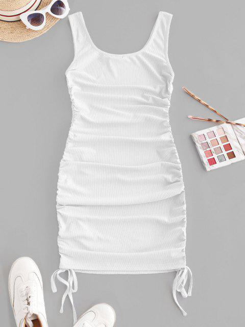 new ZAFUL Ribbed Cinched Tank Dress - WHITE XL Mobile