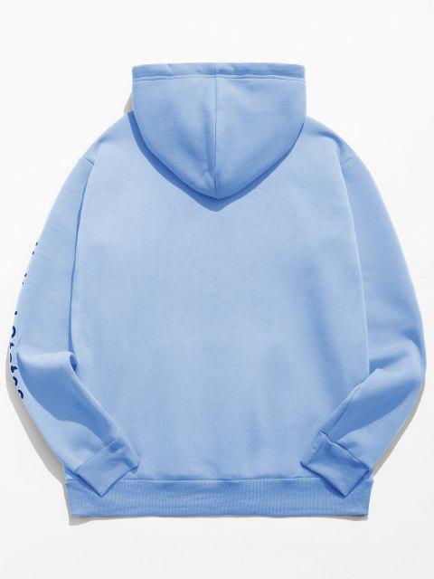 Buchstabe Grafik Amerikanische Flaggendruck Känguru Taschen Hoodie - Hellblau XL Mobile