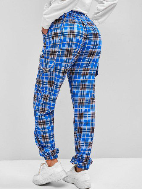 outfits ZAFUL Pockets Chain Plaid Cargo Pants - BLUE L Mobile