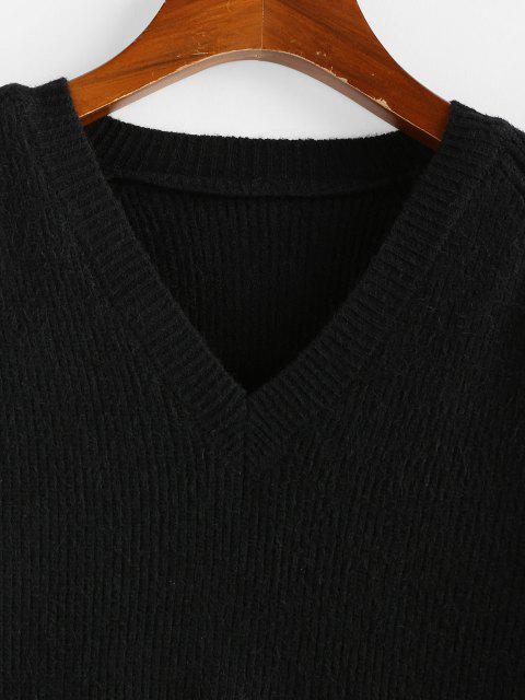 Suéter Alto-Baixo com Manga Raglan - Preto L Mobile