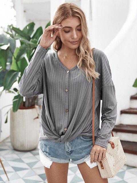 Blusa de malha com botões até a gola e zíper - Cinzento L Mobile