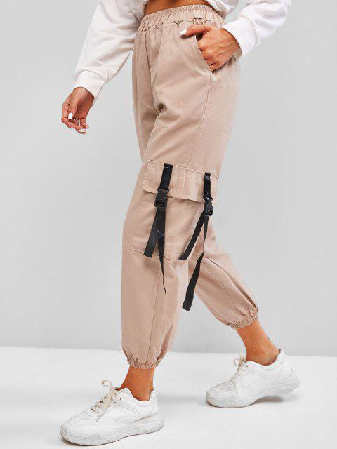 ladies High Waisted Snap-buckled Straps Cargo Pants - COFFEE L Mobile