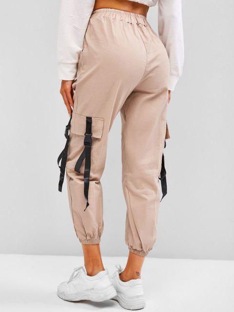 lady High Waisted Snap-buckled Straps Cargo Pants - COFFEE M Mobile