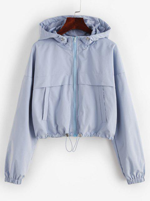 ZAFUL Full Zip Toggle Drawstring Windbreaker Jacket - أزرق فاتح L Mobile