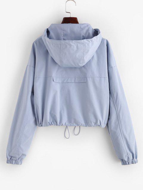 women ZAFUL Full Zip Toggle Drawstring Windbreaker Jacket - LIGHT BLUE L Mobile