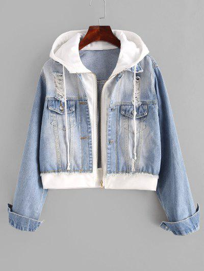 Hooded Ripped Combo Denim Jacket - Light Blue S