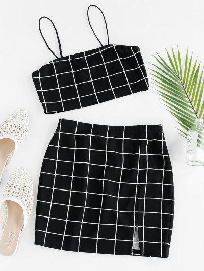 ZAFUL Grid Slit Cami Mini Skirt Set - Black S