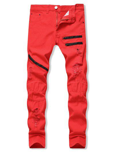 Distressed Zippers Ripped Long Jeans - Red 32