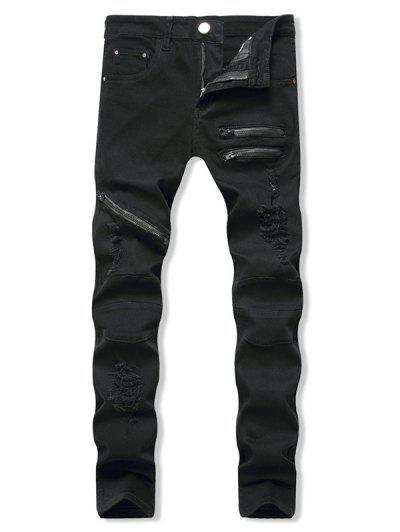Distressed Zippers Ripped Long Jeans - Black 32