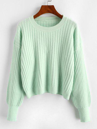 Crew Neck Plain Ribbed Sweater - Green