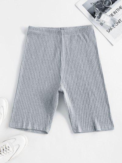 ZAFUL Ribbed High Waisted Biker Shorts - Light Gray M