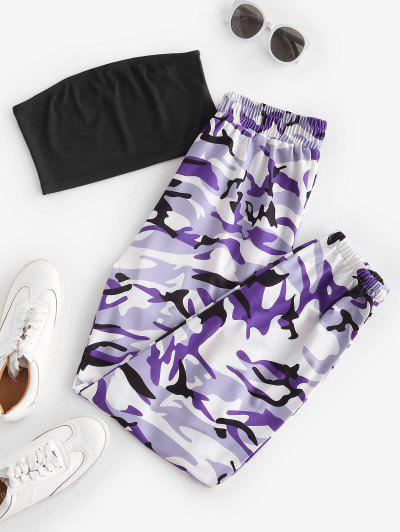 Bandeau Top And Camo Jogger Pants Set - Concord S