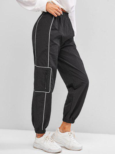 High Waisted Zippered Pockets Cargo Pants - Black M