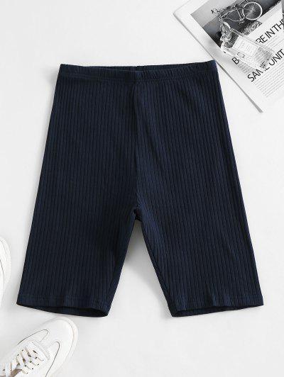 ZAFUL Ribbed High Waisted Biker Shorts - Deep Blue M