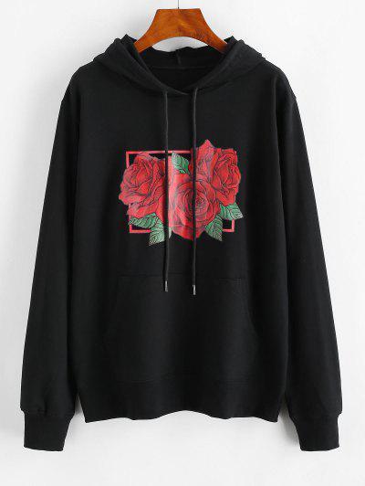 Drawstring Red Rose Kangaroo Pocket Hoodie - Black M