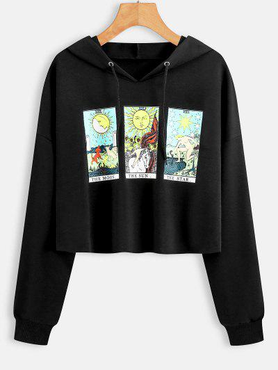 Moon Sun And Star Graphic Raw Cut Hoodie - Black Xl