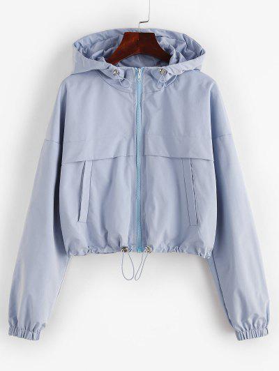 ZAFUL Full Zip Toggle Drawstring Windbreaker Jacket - Light Blue S