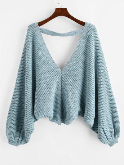 V Neck Batwing Sleeve Tie Back Sweater - Light Blue