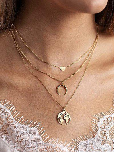 Heart Crescent Map Layered Necklace - Golden
