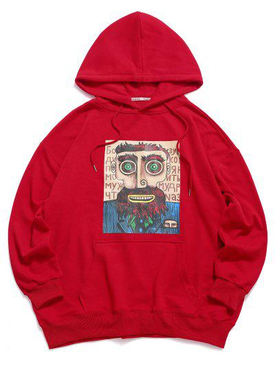 Cartoon Man Graphic Drop Shoulder Drawstring Hoodie - Red 2xl