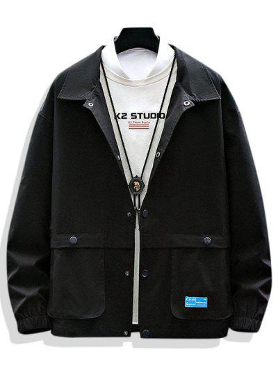Einfarbige Applique Patch Jacke Mit Tasche - Schwarz L