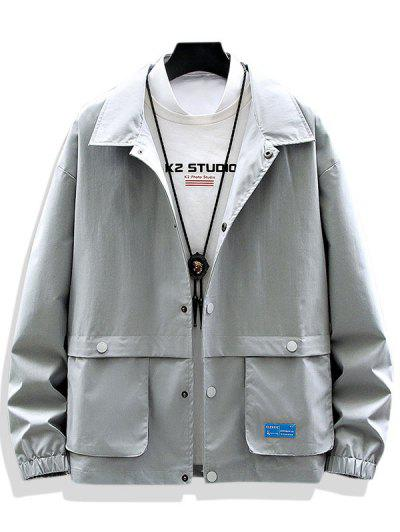 Solid Applique Pocket Patch Jacket - Gray Xs