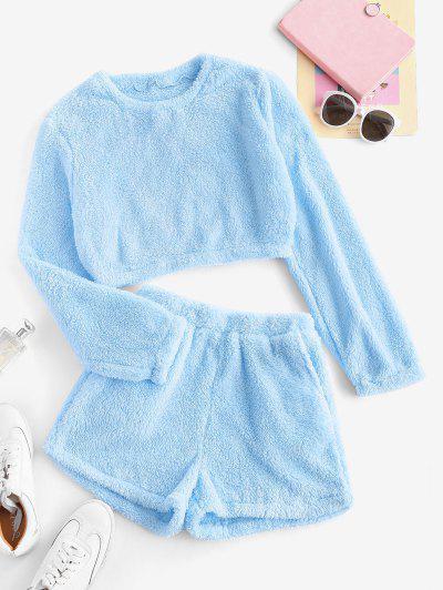 Lounge Plush Pocket Shorts Set - Light Blue S
