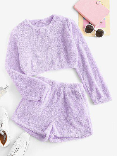 Lounge Plush Pocket Shorts Set - Light Purple M