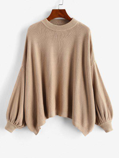 Crew Neck Oversized Lantern Sleeve Sweater - Coffee