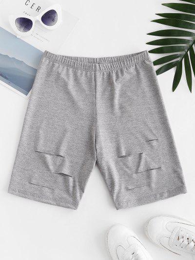 Distressed High Waisted Biker Shorts - Light Gray M
