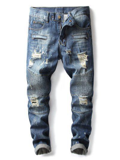Mock Zipper Pocket Pleated Ripped Straight Jeans - Deep Blue 34