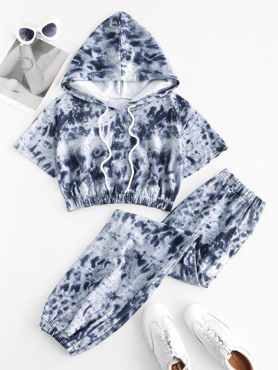 Tie Dye Sports Hooded Pocket Joggers Set - Light Gray S