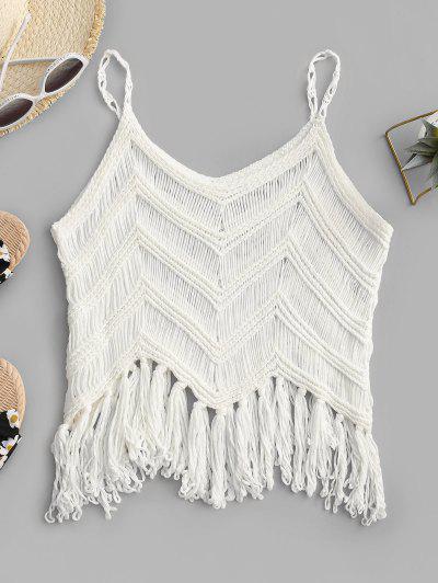 Fringed Crochet Beach Top - White