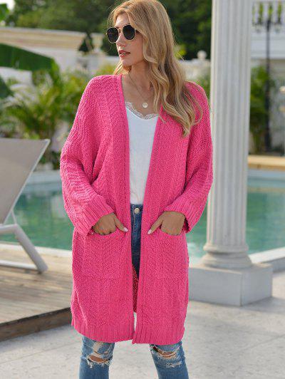Drop Shoulder Open Front Pocket Cardigan - Light Pink