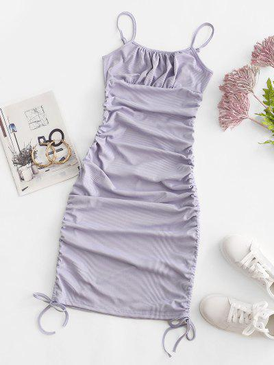 Ribbed Cinched Tie Ruched Bodycon Cami Dress - Light Purple M