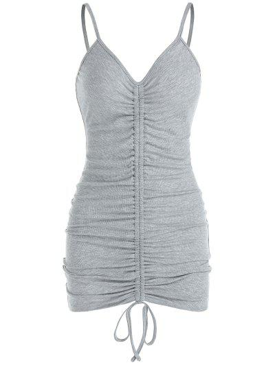 ZAFUL Ribbed Cinched Bodycon Dress - Ash Gray S