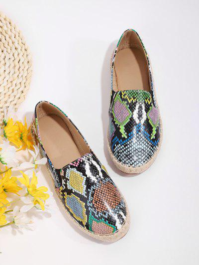 Snake Print Espadrilles Flat Loafer Shoes - Multi-a Eu 38