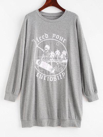 Halloween Skeleton Letter Graphic Drop Shoulder Sweatshirt - Gray S